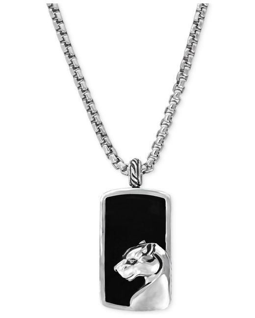 Effy Collection   Metallic Men's Onyx Panther Pendant Necklace In Sterling Silver for Men   Lyst