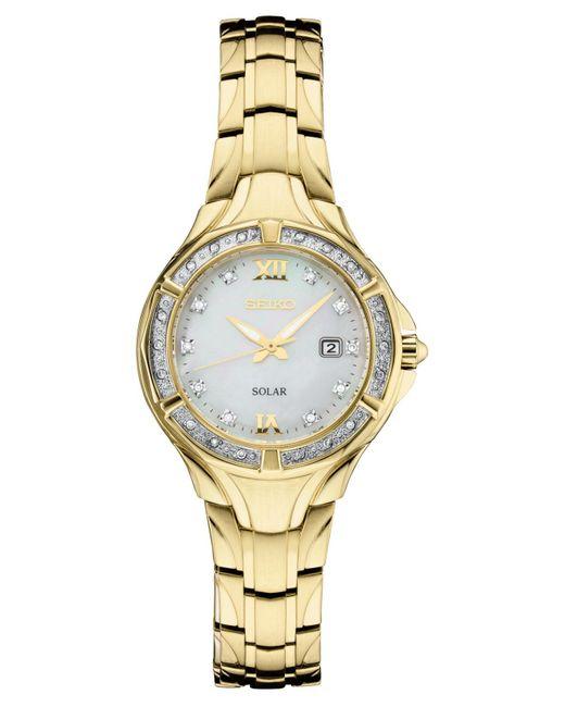 Seiko Metallic Solar Diamond Collection Diamond-accent Gold-tone Stainless Steel Bracelet Watch 29mm