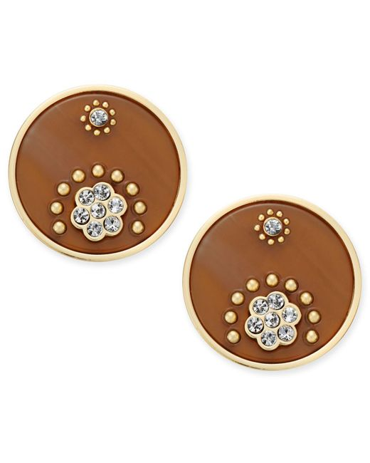 Kate Spade | Metallic Out Of Her Shell Gold-tone Tortoiseshell-look Disc Earrings | Lyst
