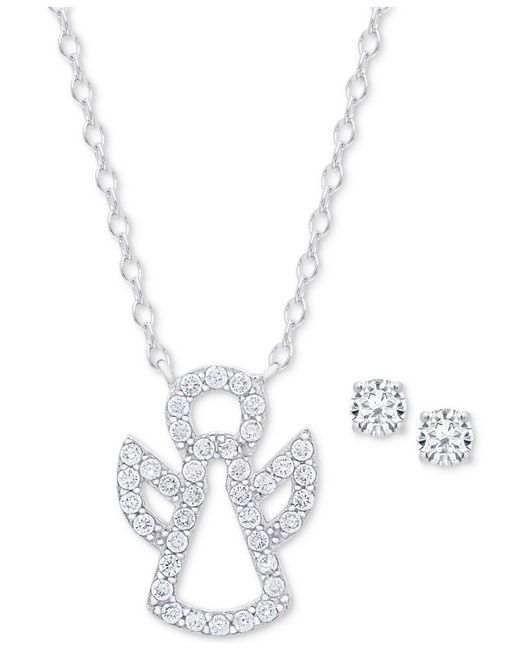 Macy's - Metallic Cubic Zirconia Angel Pendant Necklace And Stud Earrings Set In Sterling Silver - Lyst