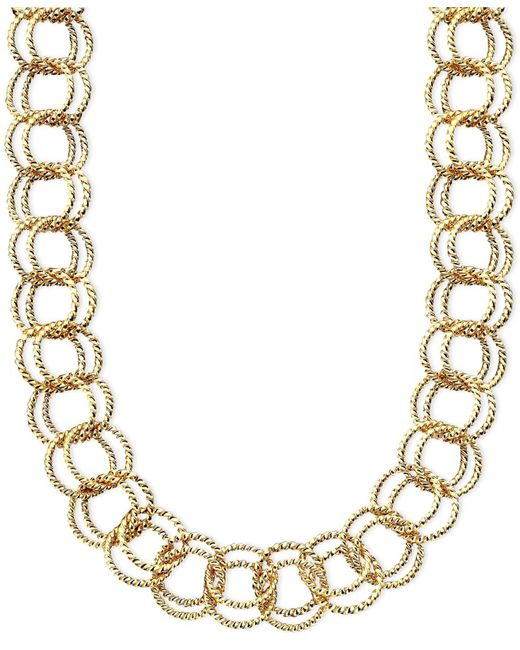 Betsey Johnson | Gold Textured Round-link Necklace | Lyst