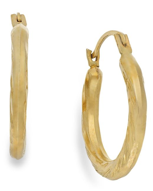 Macy's Metallic Diamond-cut Hoop Earrings In 10k Gold