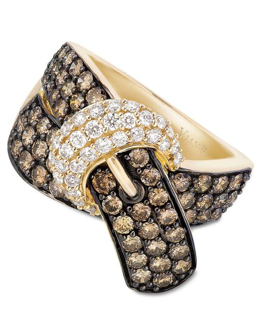 Le Vian - Brown Chocolate Diamond (2-1/6 Ct. T.w.) And White Diamond (3/8 Ct. T.w.) Buckle Ring In 14k Gold - Lyst