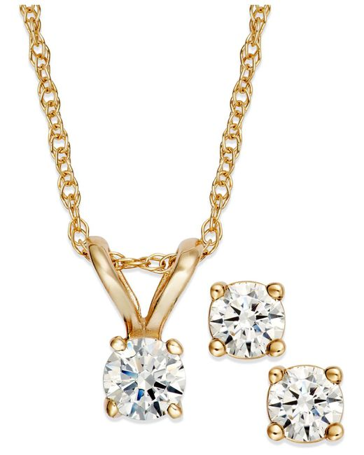 Macy's - Metallic Round-cut Diamond Pendant Necklace And Earrings Set In 10k Gold (1/6 Ct. T.w.) - Lyst