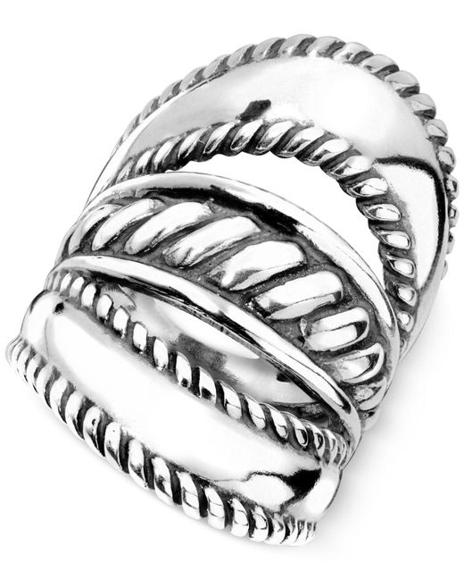 Carolyn Pollack - Metallic Ornate Three-row Ring In Sterling Silver - Lyst