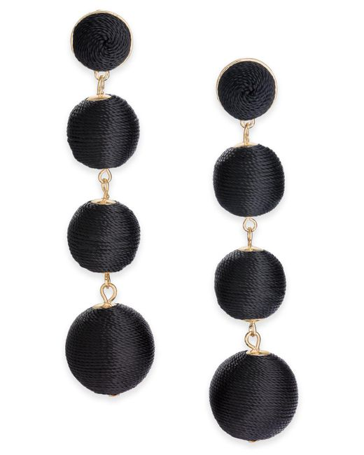 INC International Concepts | Black Gold-tone Graduated Thread-wrapped Linear Drop Earrings | Lyst