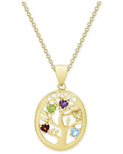 """Macy's - Metallic Multi-gemstone Tree Of Life 18"""" Pendant Necklace (3/4 Ct. T.w.) In 18k Gold-plated Sterling Silver - Lyst"""