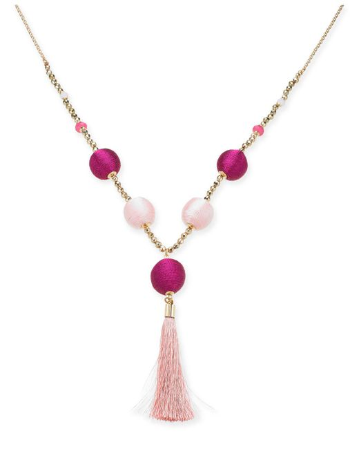"""INC International Concepts - Pink I.n.c. Gold-tone Bead & Wrapped Ball Long Tassel Necklace, 34"""" + 3"""" Extender, Created For Macy's - Lyst"""