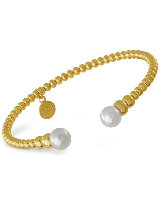 Majorica Metallic Gold-tone Imitation Pearl Cuff Bracelet