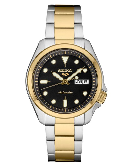 Seiko Black Automatic 5 Sports Two-tone Stainless Steel Bracelet Watch 40mm for men