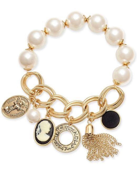 INC International Concepts - Metallic I.n.c. Gold-tone Cameo Multi-charm Imitation Pearl Stretch Bracelet, Created For Macy's - Lyst