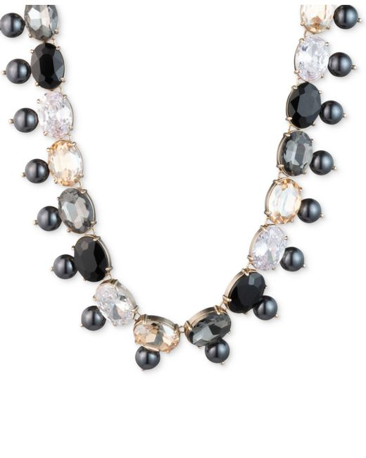 """Carolee - Multicolor Gold-tone Stone, Imitation & Freshwater Pearl (5-10mm) 18"""" Collar Necklace - Lyst"""