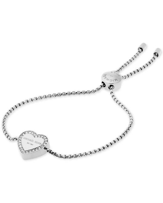 Michael Kors - Metallic Crystal Heart Logo Slider Bracelet - Lyst