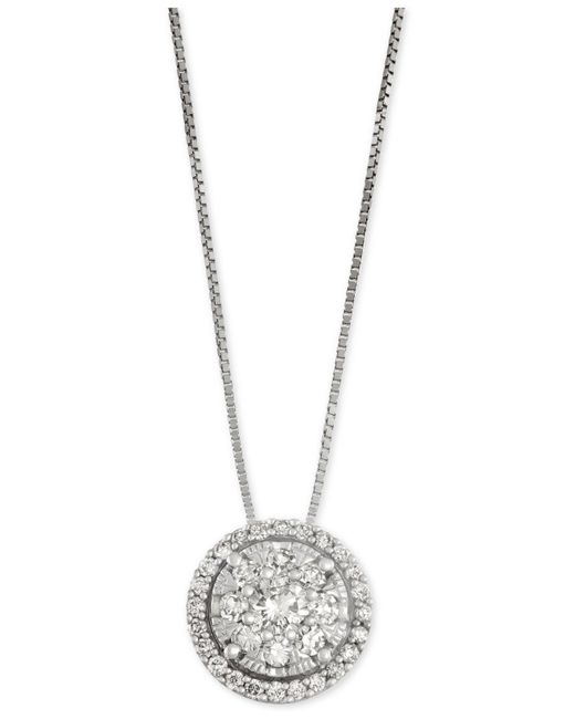 Macy's | Metallic Diamond Cluster Halo Pendant Necklace (1/2 Ct. T.w.) Set In 14k White Gold | Lyst