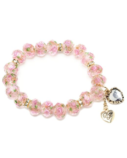 Betsey Johnson - Pink Flower Beaded Stretch Bracelet - Lyst