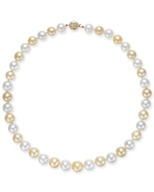 Macy's - Metallic Cultured Golden South Sea Pearl & Cultured White South Sea Pearl (10-12mm) Strand Necklace - Lyst