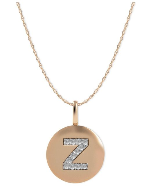 Macy's - Metallic 14k Rose Gold Necklace, Diamond Accent Letter Z Disk Pendant - Lyst