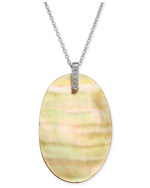 """Macy's - Metallic Golden South Sea Mother-of-pearl & Diamond Accent 18"""" Pendant Necklace In Sterling Silver - Lyst"""