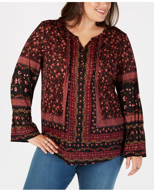 Style & Co. - Brown Plus Size Mixed-print Lantern-sleeve Top, Created For Macy's - Lyst