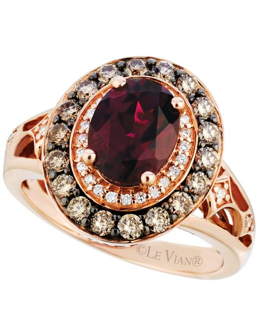 Le Vian - Red Garnet (2 Ct. T.w.) And Diamond (3/4 Ct. T.w.) Ring In 14k Rose Gold - Lyst
