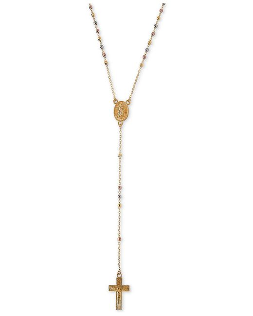 "Macy's - Metallic Tri-color Cross 17"" Lariat Necklace In 14k Gold, White Gold & Rose Gold - Lyst"