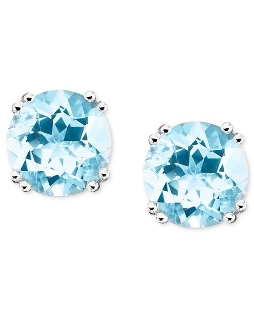 Macy's - Blue 14k White Gold Aquamarine Stud Earrings (3 Ct. T.w.) - Lyst