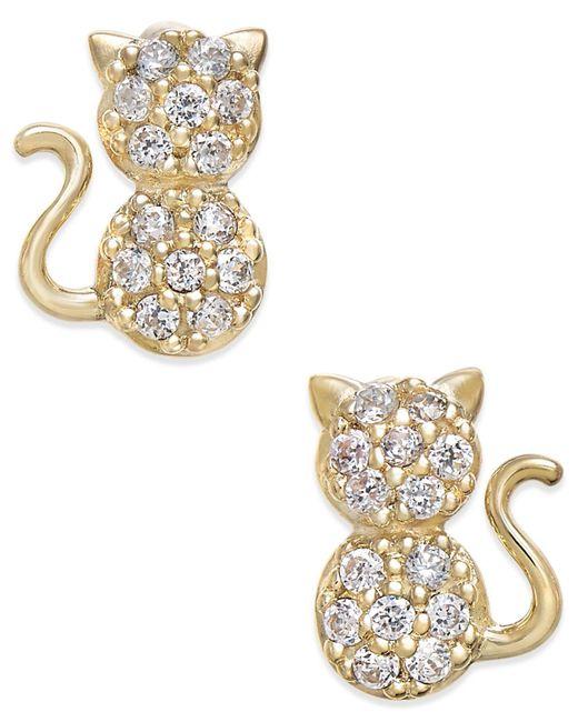 Macy's - Metallic Cubic Zirconia Kitty Cat Stud Earrings In 10k Gold - Lyst