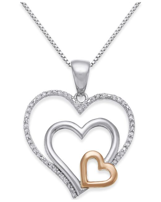 Macy's - Metallic Diamond Nested Heart Pendant Necklace (1/10 Ct. T.w.) In Sterling Silver And 14k Gold - Lyst