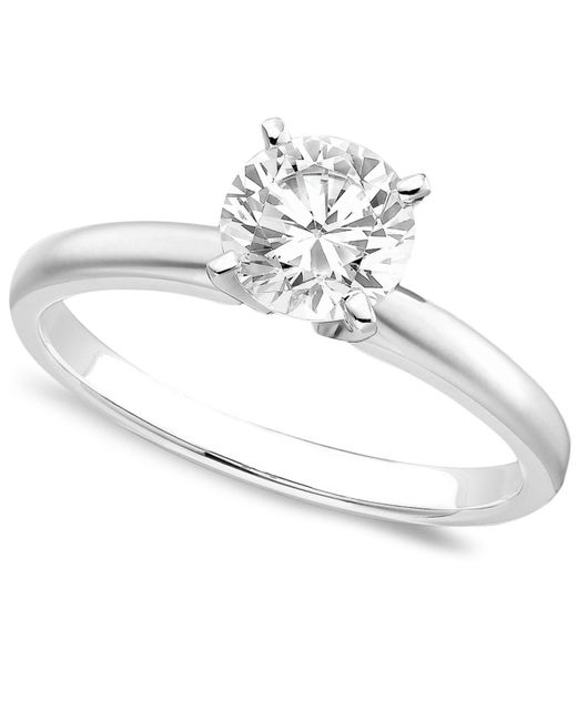 Macy's - Metallic 18k White Gold Certified Colorless Diamond Engagement Ring (1 Ct. T.w.) - Lyst