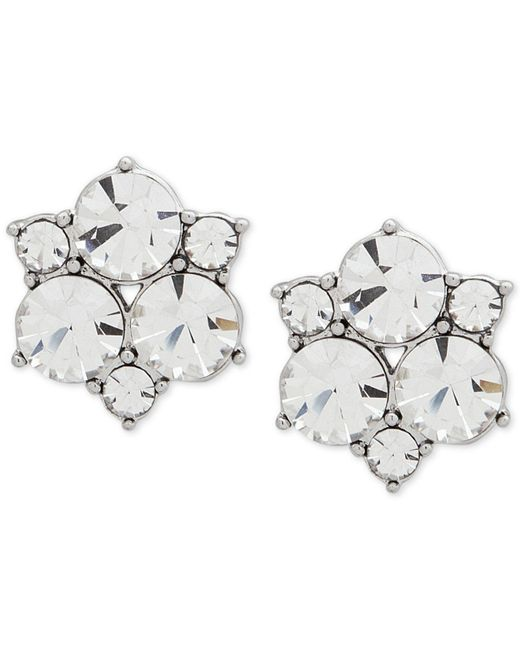 Givenchy - Metallic Silver-tone Crystal Cluster Stud Earrings - Lyst
