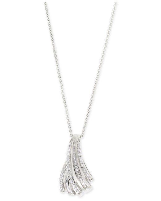 Macy's - Metallic Diamond Fan Pendant Necklace (1/2 Ct. T.w.) In Sterling Silver - Lyst