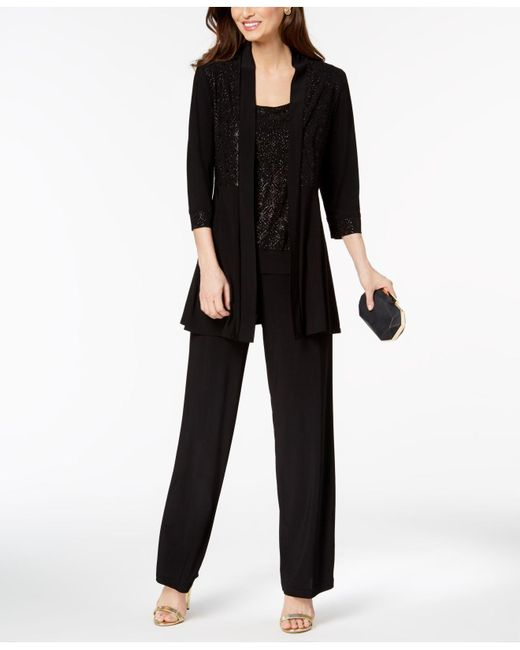 R & M Richards Black Glitter-print Pantsuit