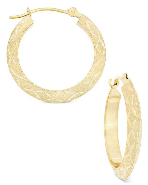 Macy's   Metallic Brush Finish Patterned Hoop Earrings In 10k Gold   Lyst