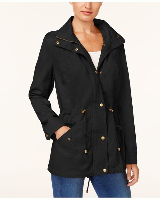 Style & Co. | Black Cotton Hooded Utility Jacket | Lyst