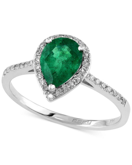 Effy Collection - Green Emerald (9/10 Ct. T.w.) And Diamond (1/6 Ct. T.w.) Pear-shaped Ring In 14k White Gold - Lyst