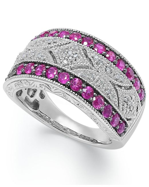 Macy's | Gray Ruby (5/8 Ct. T.w.) And Diamond Accent Antique Band In Sterling Silver | Lyst