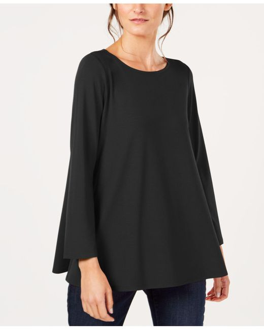 Eileen Fisher - Black Stretch Jersey Ballet-neck Swing Tunic, Created For Macy's - Lyst