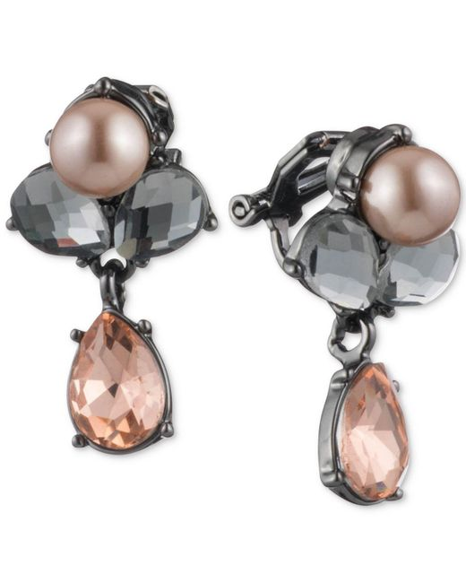 Carolee | Hematite-tone Colored Crystal & Pink Imitation Pearl Drop Earrings | Lyst