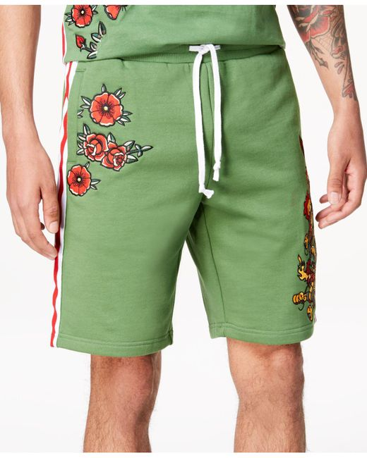 """Reason - Green Embroidered 10"""" Shorts for Men - Lyst"""
