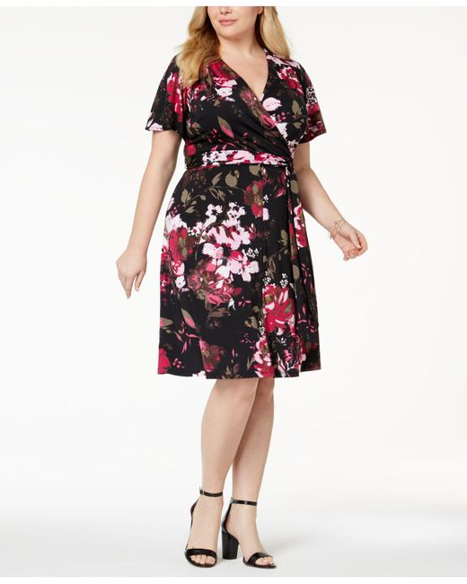 INC International Concepts - Multicolor Plus Size Printed Faux-wrap Dress, Created For Macy's - Lyst