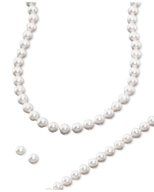 Macy's - Multicolor Cultured Freshwater Pearl 3 Piece Set, Necklace, Earrings And Bracelet - Lyst