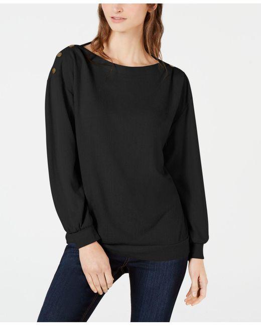 1.STATE - Black Cozy Metallic-trim Sweatshirt - Lyst