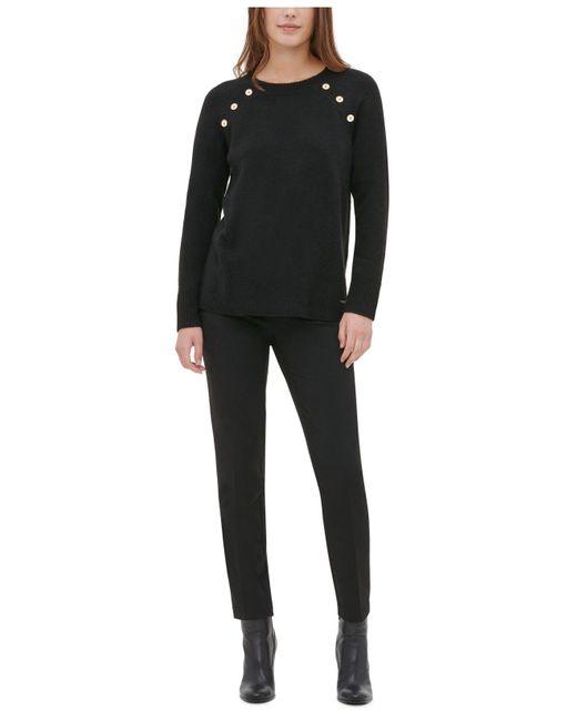 Calvin Klein Black Button-detail Crewneck Sweater