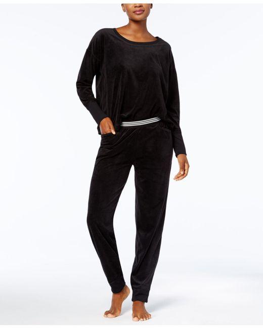 Hue   Black Solid Velour Lounge Pajama Set   Lyst