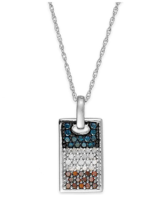 Macy's | Metallic Diamond Flag Dog Tag Pendant Necklace In Sterling Silver (1/2 Ct. T.w.) | Lyst