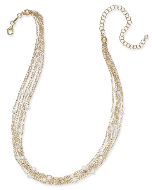 Macy's | Metallic Cultured Freshwater Pearl (4mm) Multi-chain Collar Necklace In 14k Gold-plated Sterling Silver | Lyst