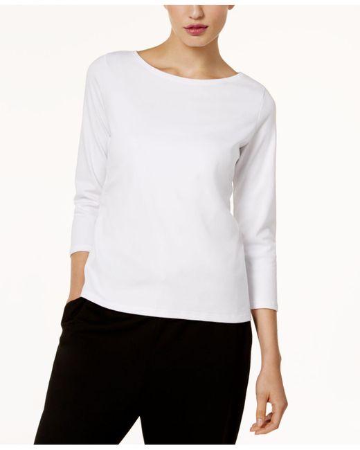 Eileen Fisher - White Three-quarter-sleeve Ballet-neck Top - Lyst