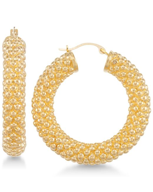 Signature Gold - Metallic Chunky Hoop Earrings In 14k Gold Over Resin - Lyst