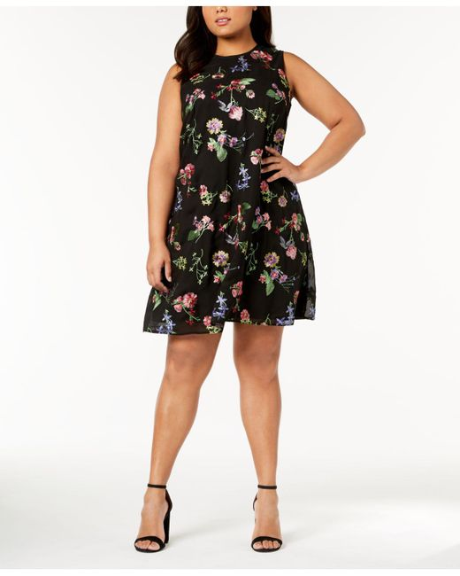 Lyst Calvin Klein Plus Size Embroidered Trapeze Dress In Black