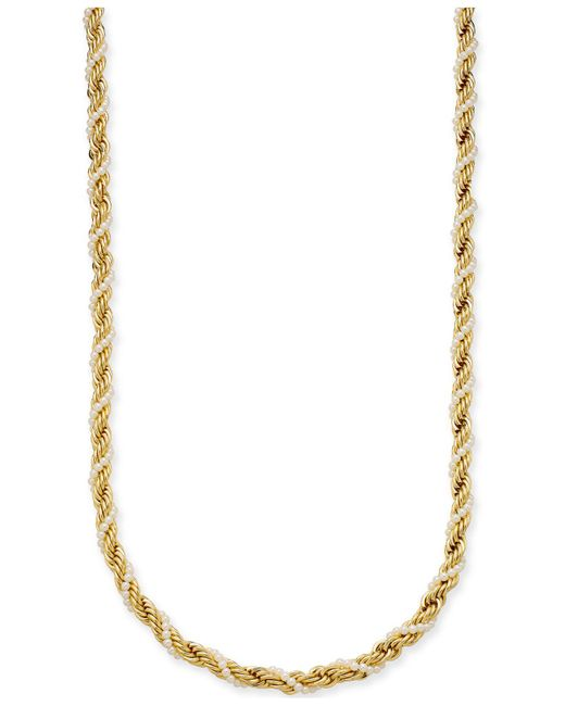 """Charter Club - Metallic Gold-tone Imitation Pearl And Rope Chain Twist Statement Necklace, 36"""" + 2"""" Extender, Created For Macy's - Lyst"""